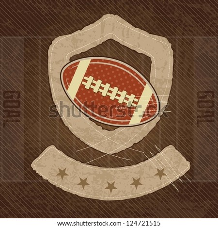 American Football shield, on vintage background, vector illustration