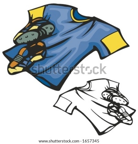 American football shirt and boots. Vector illustration