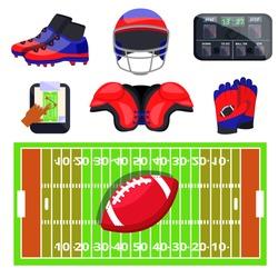 American football sport set. Flat cartoons vector illustration icons. Isolated on white background. American football equipments.Sport gear:protection,shoes,scheme,ball,gloves,field,scoreboard,helmet
