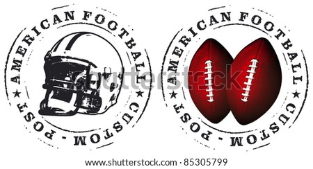 american football stamps - stock vector