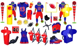 American football training set. Flat cartoons vector illustration icons. Isolated on white background. American football player accessories for training. Training Equipment - Field, Training Equipment
