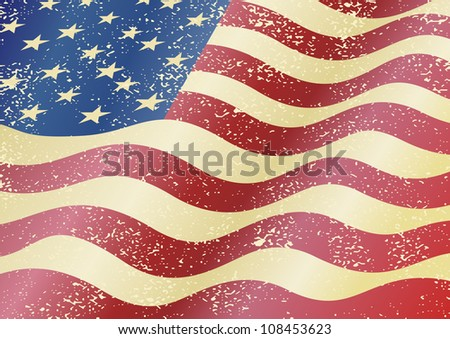 American grunge flag. Grunge effect can be cleaned easily.