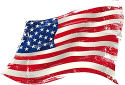 american grunge flag in the win. flag of  USA  in the wind with a texture.