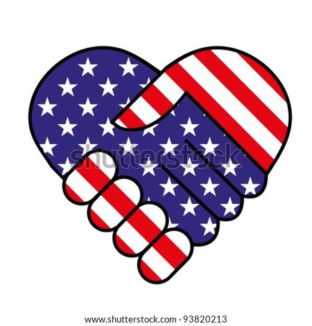 American hand shake - stock vector