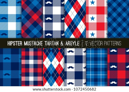 American Hipster Mustache Tartan Plaid and Argyle Vector Patterns in Patriotic Red, White and Blue.  4th of July or Father's Day Backgrounds. Barbershop Style. Pattern Tile Swatches Included.