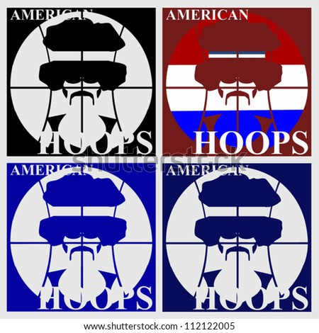 American hoops retro basketball design poster