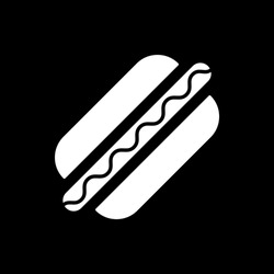 American hot dog dark mode glyph icon. Street food. Unhealthy eating. Fast food. Cooked sausage with ketchup in bun. White silhouette symbol on black space. Vector isolated illustration
