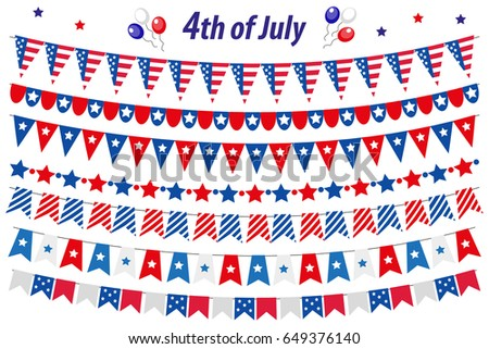 American Independence Day, celebration in USA, set bunting, flags, garland. Collection of decorative elements for July 4th  national holiday. Vector illustration, clip art
