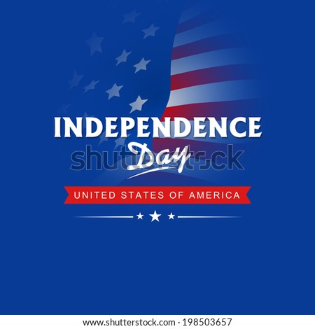 American Independence Day celebrations concept with stylish text on flag waving background.