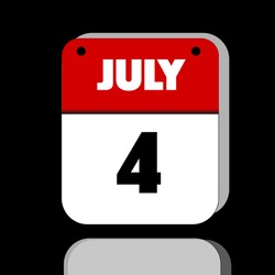 American Independence Day July 4 Calendar Red and White reflective Button icon, internet like for business, education, today or holiday use