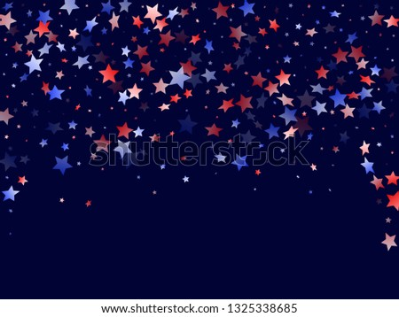 American Independence Day stars background. Confetti in US flag colors for Independence Day. Solemn red blue white stars on dark American patriotic vector. 4th of July stardust confetti.