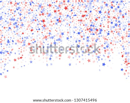 American Independence Day stars background. Confetti in USA flag colors for Independence Day.  Solemn red blue white stars on white American patriotic vector. July 4th stardust confetti.