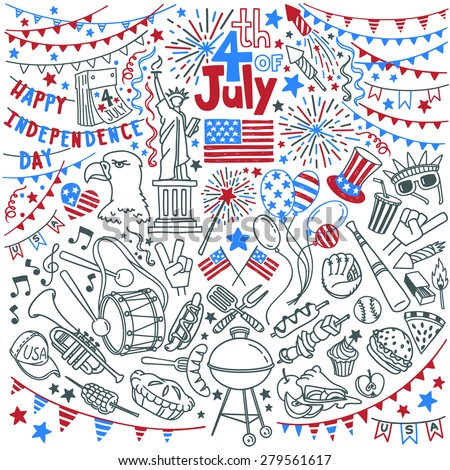 American Independence Day themed doodle set. National symbols of Fourth of July, festival traditional attributes and decorations, popular activities,  food and snacks. Isolated over white background.