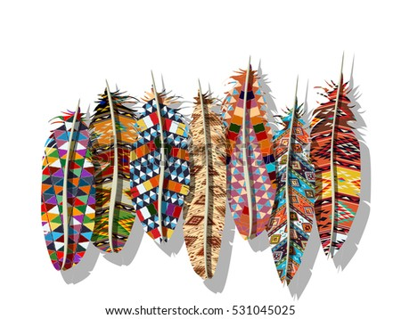 American Indian decorated feathers over white background