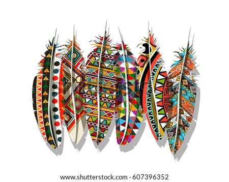 American Indian decorated feathers vector collection