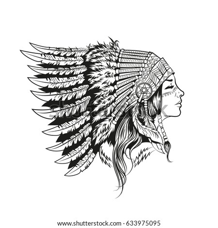 American indian girl in national headdress