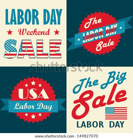 American Labor day designs set.