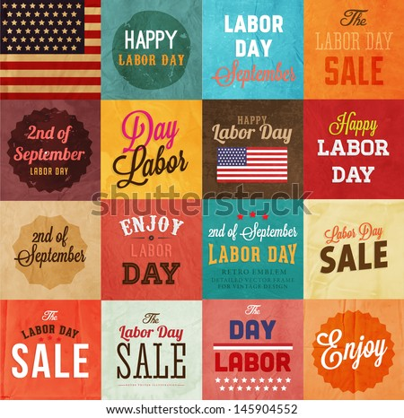 American Labor day designs set. Vintage paper texture background. Sale, enjoy lettering. Flag.