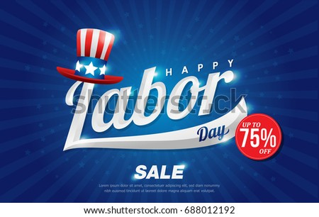 American labor day sale banner promotion advertising banner design with american hat on blue back ground. voucher discount.Vector illustration
