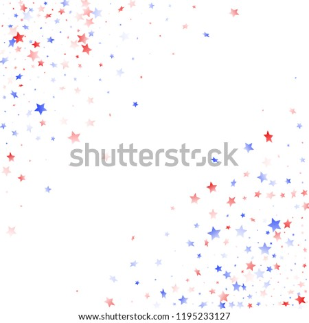 American Memorial Day stars background. Confetti in US flag colors for Independence Day. Solemn red blue white stars on white American patriotic vector. July 4th stardust confetti.
