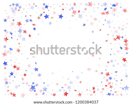 American Memorial Day stars background. Confetti in USA flag colors for Independence Day. Solemn red blue white stars on white American patriotic vector. July 4th stardust confetti.
