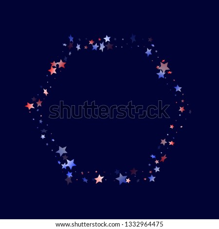 American Memorial Day stars background. Holiday confetti in US flag colors for Patriot Day. Solemn red blue white stars on dark American patriotic vector. 4th of July stardust scatter.