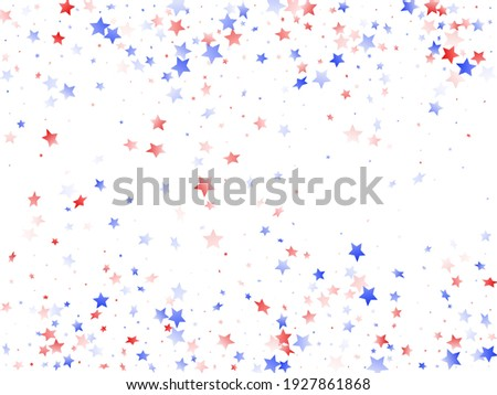 American Memorial Day stars background. Holiday confetti in USA flag colors for Patriot Day.  Poster red blue white stars on white American patriotic vector. 4th of July holiday stardust. Foto stock ©