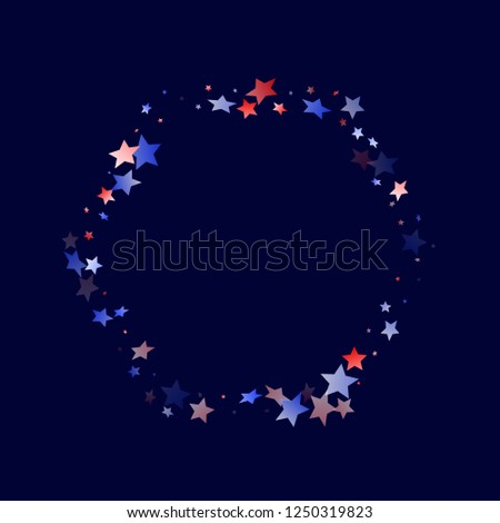 American Memorial Day stars background. Holiday confetti in USA flag colors for Presidents Day. Solemn red blue white stars on dark American patriotic vector. July 4th stardust confetti.