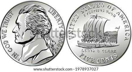 American money, USA five-cent coin with US third President Thomas Jefferson on obverse and keelboat of Lewis and Clark Expedition on reverse Stock photo ©