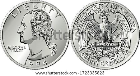 American money, Washington quarter dollar or 25-cent silver coin, first US president George Washington on obverse, Bald eagle on reverse Stock photo ©