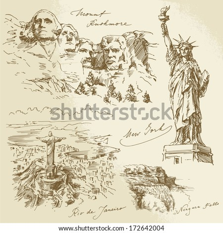 american monuments   hand drawn