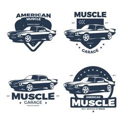 American Muscle Car Badge Logo Template