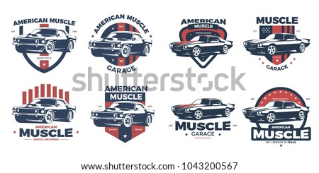 American Muscle Car Logo Design.This logo is suitable for vintage, old style or classic car garage, shops, repair. Also for car restoration, repair and racing.