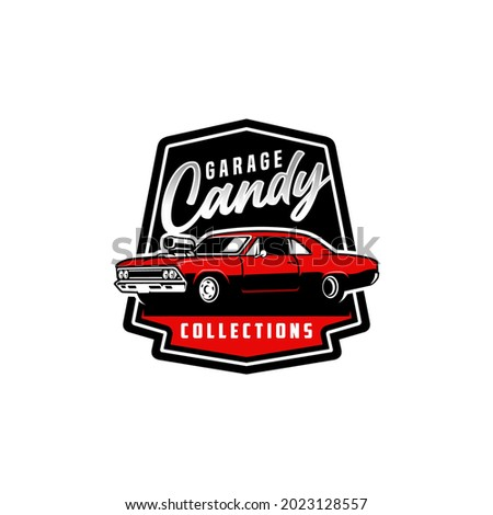 american muscle car logo with emblem style Stock fotó ©