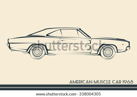 Royalty Free American Muscle Car Silhouette 70s 361851896 Stock