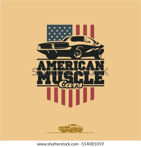 American muscle cars label, vector muscle car icon #554081059