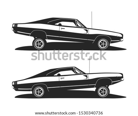 american muscle low rider car