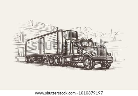American Old Retro Truck hand drawn illustration. Vector.