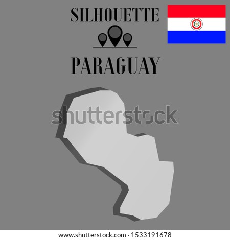 American Paraguay outline world map silhouette vector illustration, creative design background, national country flag, objects, element, symbols from countries all continents set.