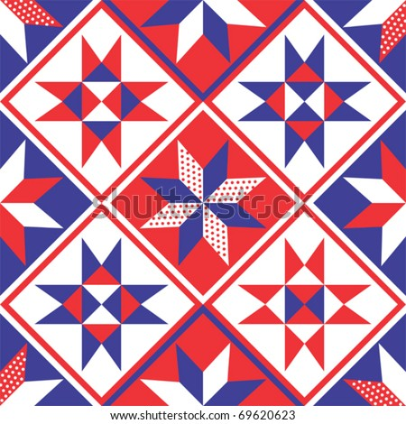 American Patchwork Quilt Seamless Pattern or Background Vector