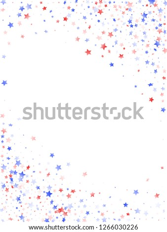 American Patriot Day stars background. Holiday confetti in US flag colors for President Day. Solemn red blue white stars on white American patriotic vector. 4th of July stardust confetti.