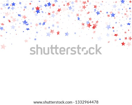American Patriot Day stars background. Holiday confetti in USA flag colors for Presidents Day. Solemn red blue white stars on white American patriotic vector. 4th of July holiday stardust.