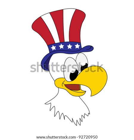 American patriotic eagle with hat on his head - funny cartoon vector illustration