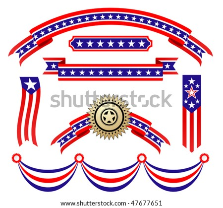 American patriotic ribbons set for design and decorate. Jpeg version is also available
