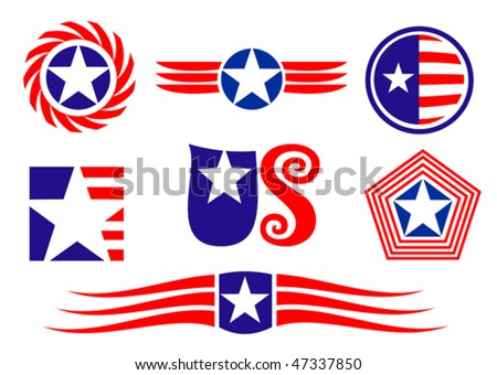 American Patriotic Symbols Set For Design And Decorate - Also As ...