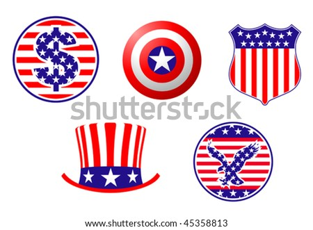 American patriotic symbols set for design and decorate - also as emblem or logo template. Jpeg version is also available