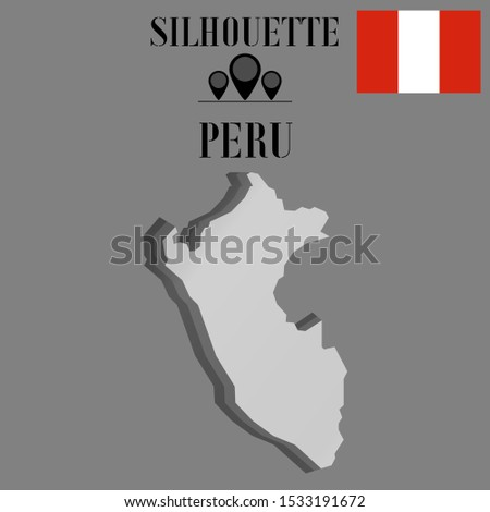 American Peru, Lima outline world map silhouette vector illustration, creative design background, national country flag, objects, element, symbols from countries all continents set.