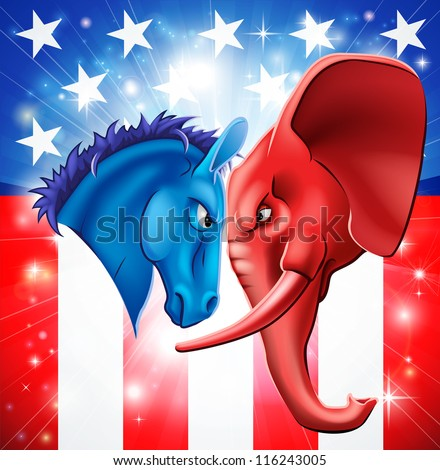 American politics concept illustration of a donkey and elephant facing off. Symbols of Democrat and Republican two US parties. Could be for presidential debate, partisan politics, or just an election