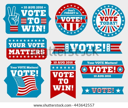 American presidential election badges and vote labels. Badges and signs for presidential elections