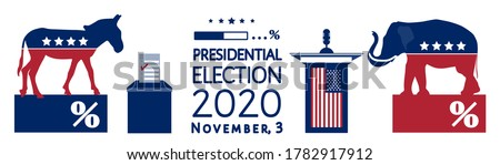 American Presidential election 2020 Infographics. Voting results, democrats vs republicans ratio. Poll loading icon, party mascots, elephant, donkey, ballot box, USA flag, isolated on white. Vector